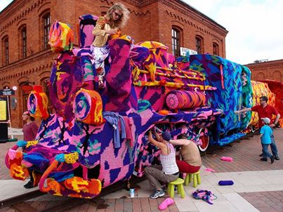 Crocheted Train Yarn Bomb