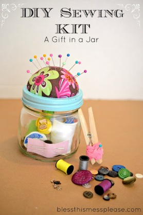 Homemade sewing kit mason jar Christmas gift idea 3