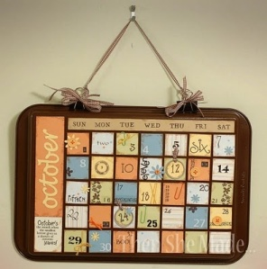 Cookie Sheet Calendars using magnetic months and letters.